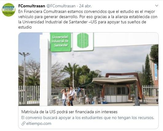 Financiera Comultrasan firma alianza con la UIS para subsidiar matrícula de estudiantes 1 - eivos | marketing y publicidad